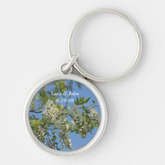Locust Blossoms Wedding Date Keychain
