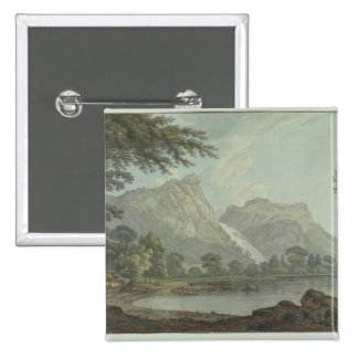 Lodore Rocks - fall & cottage distance (pen & ink 15 Cm Square Badge