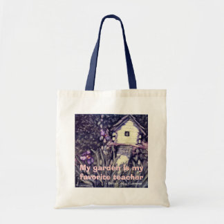 Log Cabin Birdhouse and Purple Irises Bag