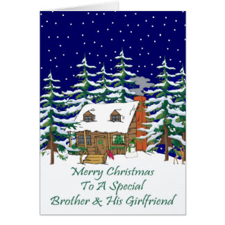 Log Cabin Christmas Brother & Girlfriend Card