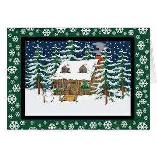 log cabin christmas card