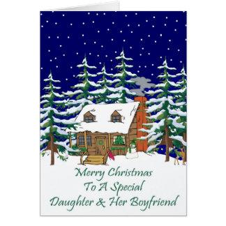 Log Cabin Christmas Daughter & Boyfriend Card