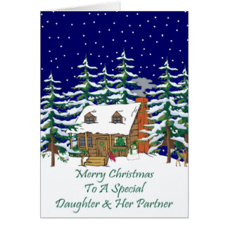 Log Cabin Christmas Daughter & Partner Card