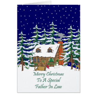 Log Cabin Christmas Father In Law Card
