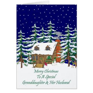 Log Cabin Christmas Granddaughter & Husband Card
