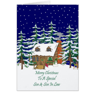 Log Cabin Christmas Son & Son In Law Greeting Card