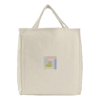 Log Cabin Embroidered Tote Bag