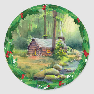 LOG CABIN HOLLY CHRISTMAS by SHARON SHARPE Round Sticker