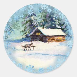 LOG CABIN & HORSE by SHARON SHARPE Round Sticker