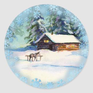 LOG CABIN & HORSE by SHARON SHARPE Classic Round Sticker
