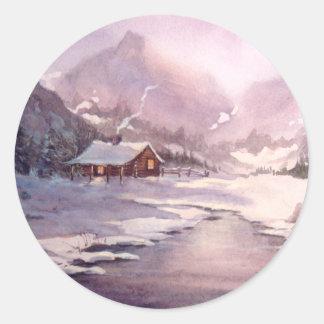 LOG CABIN & ICE by SHARON SHARPE Round Sticker