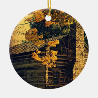 Log Cabin in Autumn Christmas Ornament