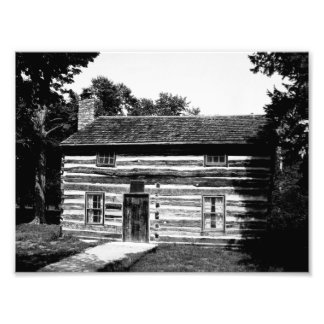 Log Cabin in Black and White Photograph