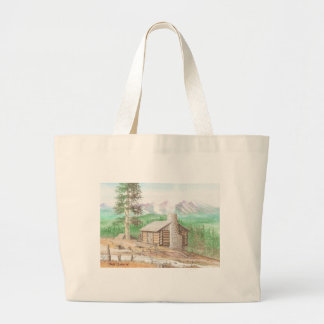 Log cabin in the Woods Large Tote Bag