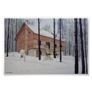 Log Cabin in Winter Maine-poster