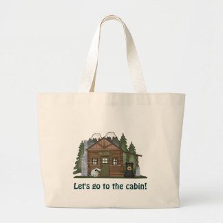 Log Cabin-Jumbo Tote Canvas Bag