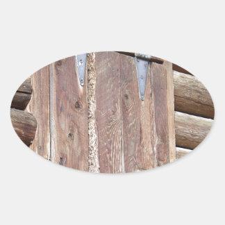 Log Cabin Oval Sticker