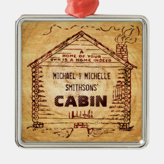 Log Cabin Personalized Faux Wood Christmas Ornament
