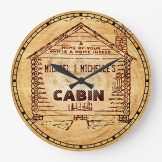 Log Cabin Personalized Faux Wood Large Clock