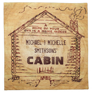 Log Cabin Personalized Faux Wood Napkin