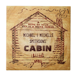 Log Cabin Personalized Faux Wood Tile