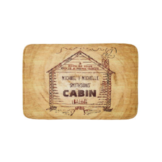 Log Cabin Personalized Name Faux Wood Vintage Bath Mats