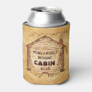 Log Cabin Personalized Name Faux Wood Vintage Can Cooler