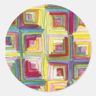 log cabin quilt round sticker