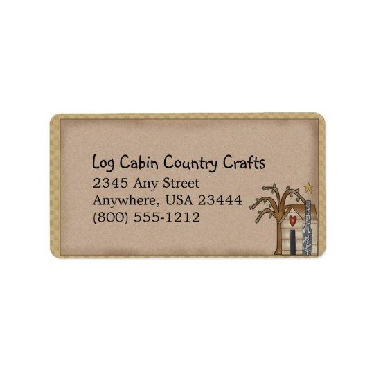 Log Cabin Rustic Primitive Country Label Address Label
