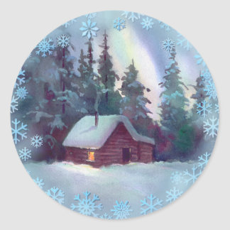 LOG CABIN & SNOWFLAKES by SHARON SHARPE Classic Round Sticker