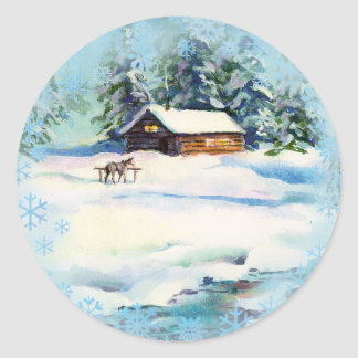 LOG CABIN & SNOWFLAKES by SHARON SHARPE Stickers