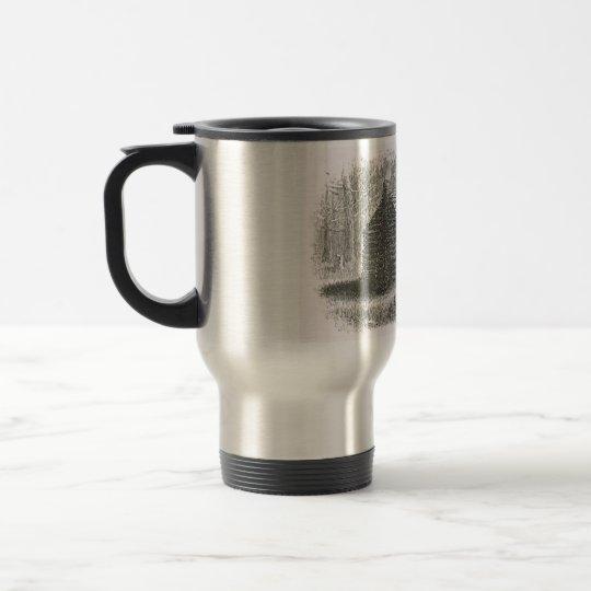 log cabin travel mug   1800s cabin engraving