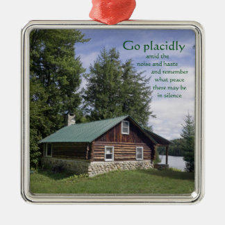 Log Cabin with Poetry Christmas Ornament
