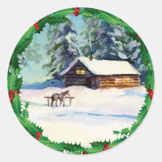LOG CABIN, WREATH & HORSE by SHARON SHARPE Classic Round Sticker