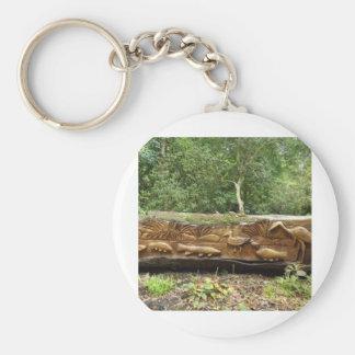 Log Carving Basic Round Button Key Ring