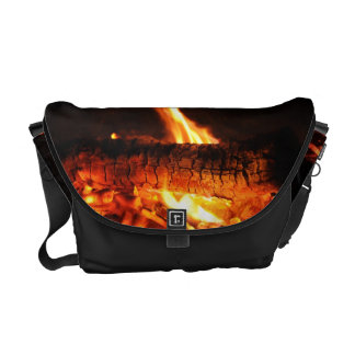 Log Fire Messenger Bag