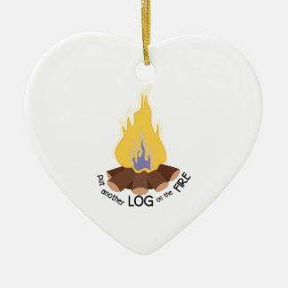 Log On The Fire Ceramic Heart Decoration
