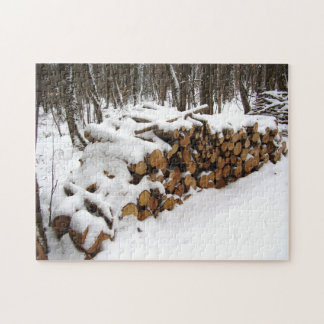 Log Pile in the Woods Photo Puzzle with Gift Box