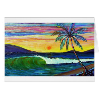 logans sunset lahaina greeting card