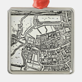 Loggan's map of Oxford, Eastern Sheet Silver-Colored Square Decoration