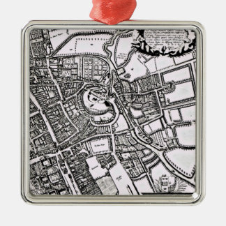 Loggan's map of Oxford, Western Sheet Silver-Colored Square Decoration