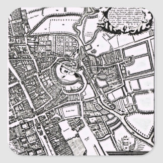 Loggan's map of Oxford, Western Sheet Square Sticker