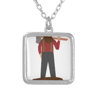 Logger Square Pendant Necklace