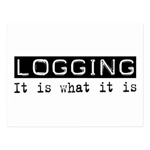 Logging It Is Postcard