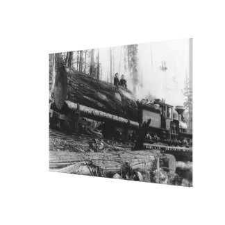 Logging Train carrying men and Canvas Print