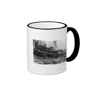 Logging Train carrying men and Mug