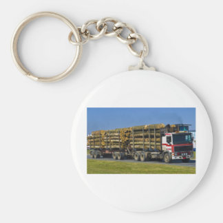 logging truck basic round button key ring