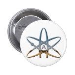 Logidea atheist atomic symbol 6 cm round badge