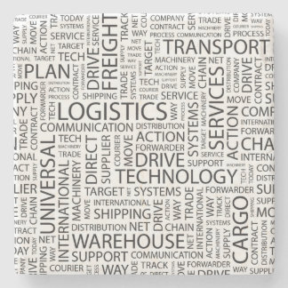 LOGISTICS pattern with words Stone Beverage Coaster