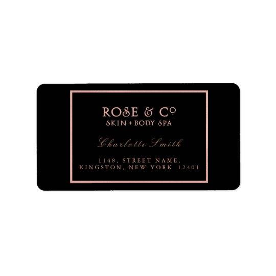 Logo Black Frame Rose Gold Return Address Labels